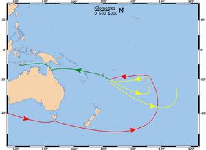 Een kaart die de vaarroute van de Bounty laat zien. Rood is de route van de Bounty voor de opstand, geel na de opstand en groen van de sloep.