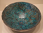 Bowl with floral design, Iran, Ilkhanid period, first half of 14th century, earthenware with black painting under turquoise glaze - Cincinnati Art Museum - DSC04057.JPG