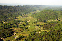 Aerial pic of Appalachian mountain ridges and valleys taken near Bristol, Tennessee