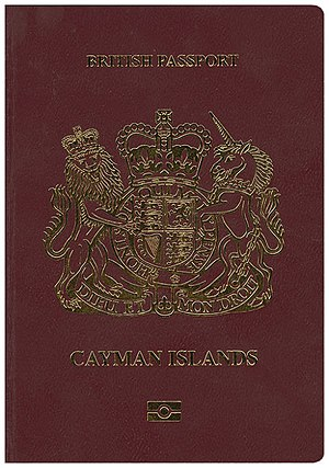 British passport (Cayman Islands) - The front cover of a biometric Caymanian passport.