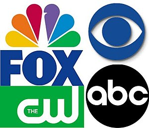 Broadcast network - Logos of the five major U.S. broadcast networks (clockwise from top left: NBC, CBS, ABC, The CW, and FOX.)