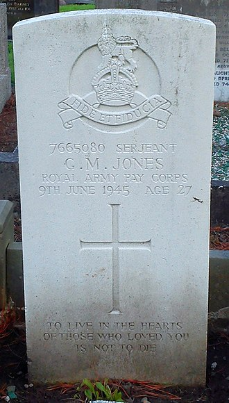 Royal Army Pay Corps - Bromsgrove cemetery, memorial for Sergeant GM Jones of the Royal Army Pay Corps