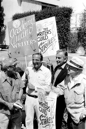 Bo Goldman -  Los Angeles -- The Screen Writers Guild strike brings motion picture and television production very nearly to a halt. Several famous writers are shown here picketing at the 20th Century-Fox Studios; including Richard Brooks, Bo Goldman, Gore Vidal and Billy Wilder (1981)