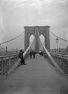 A black-and-white view of the Brooklyn Bridge in 1899 looking east on the pedestrian walkway