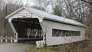 National Register of Historic Places listings in Preble County, Ohio - Image: Brubaker Covered Bridge, southern side and western portal