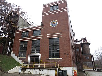United States Bureau of Mines - Building at the Bruceton Research Center near Pittsburgh in 2018, displaying a Bureau of Mines seal long after its closure
