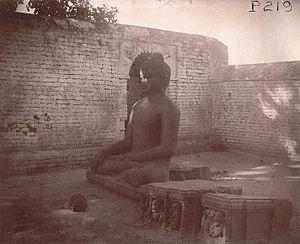 Nalanda - A statue of Gautama Buddha at Nalanda in 1895.
