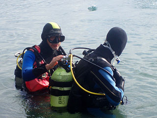 Buddy check Pre-dive safety checks carried out by two-diver dive teams