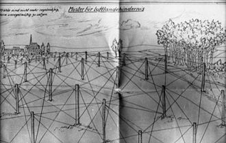 "A sketch by Rommel. His words on the picture: ""Patterns for anti-airlanding obstacles. Now to be spaced irregularly instead of regularly"". The House of Local History of Baden-Wurttemberg [de] now keeps several of these, some hand-coloured by Rommel himself. Bundesarchiv Bild 101I-719-0240-35, Pas de Calais, Atlantikwall, Luftlandehindernisse.jpg"