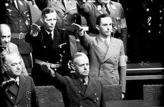 Lutz Graf Schwerin von Krosigk - Krosigk and Goebbels salute at the Reichstag