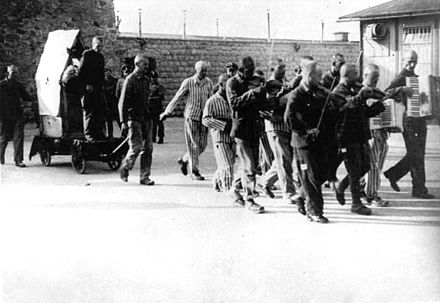 Hans Bonarewitz being taken to his execution after escaping and being recaptured 7 July 1942. - Mauthausen-Gusen concentration camp