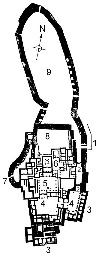 Tiryns - Plan of Tiryns excavations.
