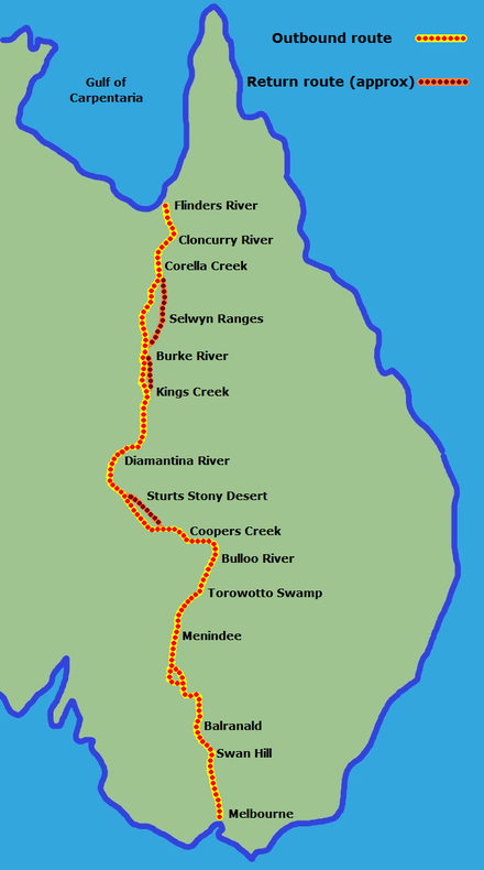 The ill-fated expedition of Burke and Wills Burke and Wills Track.png