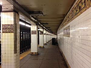 Bushwick Avenue–Aberdeen Street (BMT Canarsie Line) - Station ID mosaics on the pillars and walls