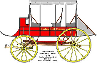 Butterfield Overland Mail - Butterfield's stage (celerity) wagon partly designed by John Butterfield. Sixty-six were employed from Fort Smith, Arkansas, to Los Angeles, California.