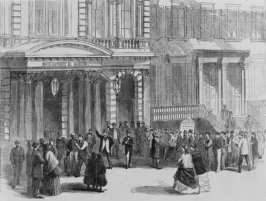 Buying tickets for a Charles Dickens reading at Steinway Hall, New York, New York, 1867