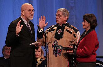 Byron Mallott - Byron Mallott being sworn in as lieutenant governor of Alaska, 2014