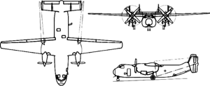 Orthographically projected diagram of the C-2A Greyhound.