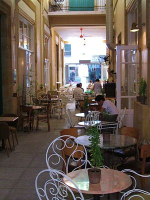 Cafes in a stoa small path in Nicosia Republic of Cyprus