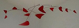 Mobile (sculpture) - Alexander Calder, Red Mobile, 1956, Painted sheet metal and metal rods, a signature work by Calder - Montreal Museum of Fine Arts