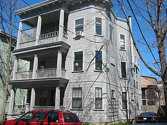Three-decker (house) - Three decker apartment building in Cambridge, Massachusetts built in 1916