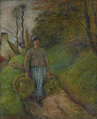 Peasant Woman Carrying Two Bundles of Hay