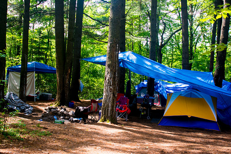 File:Camping tents in the woods 2.jpg