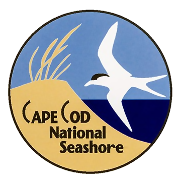 A circular logo depicting a sand dune topped with beach grass next to the ocean, with a white sea bird flying overhead.