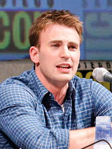 "A photograph of actor Chris Evans attending a panel for ""Captain America: The First Avenger"" at San Diego Comic Con."