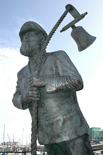 Under Milk Wood - A statue in Swansea's Maritime Quarter representing Thomas's fictional Captain Cat