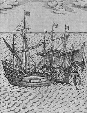 Friedrich van Hulsen - Capture Of Cacafuego (1626) engraving by Friedrich Hulsius