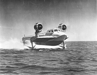 Hydrofoil - The US Navy's XCH-4, with hydrofoils clearly lifting the hull out of the water