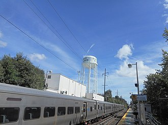 Carle Place, New York - The Carle Place water tower as seen from the LIRR station