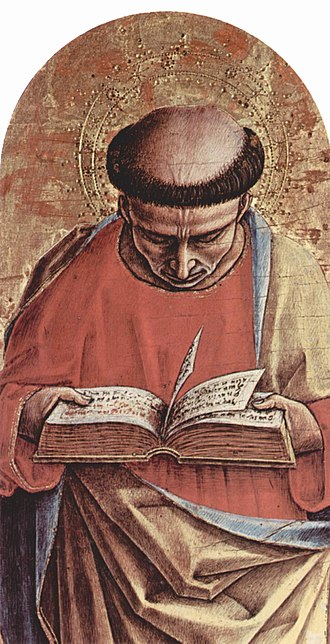 Tonsure - St Bartholomew (by Carlo Crivelli, 1473, in the Ascoli Piceno Cathedral)