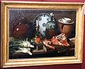 Carlo magini, natura morta con carrè di vitello, finocchi, candela, bottiglia e piatto di ceramica (modena, coll. privata).JPG