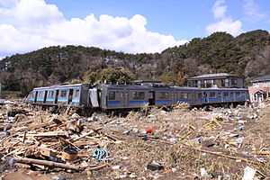 Senseki Line - Senseki Line 205 series EMU damaged by tsunami, March 2011