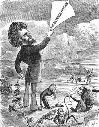 "John Fiske (philosopher) - ""Professor John Fiske flies the evolution kite in America."" – Daily Graphic, September 12, 1874."