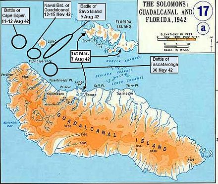 Map of Guadalcanal showing several Naval battles. Casta-MAP Guadalcanal-battles3.jpg