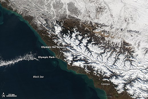Sochi from space, showing locations of Olympic park and ski venues