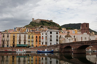 Bosa - Bosa and its castle seen from the river Temo