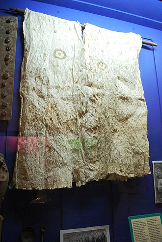 Amate - Lacandon ceremonial bark paper tunic at the Casa Na Bolom museum in San Cristóbal de las Casas.