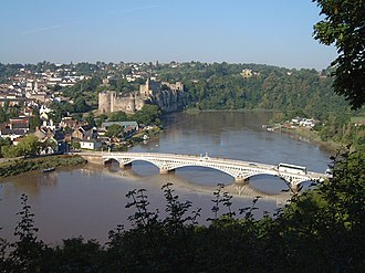 River Wye - The Wye at Chepstow, showing the castle and the road bridge linking Monmouthshire (on the left) with Gloucestershire