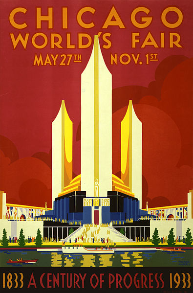 File:Chicago world's fair, a century of progress, expo poster, 1933.jpg