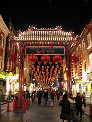 Chinatowns in Europe - Entrance to the London Chinatown decorated for Chinese New Year 2004