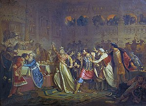 Muscovite Civil War - Sophia of Lithuania insulting Vasily Kosoy during a wedding feast. Painting by Pavel Chistyakov.