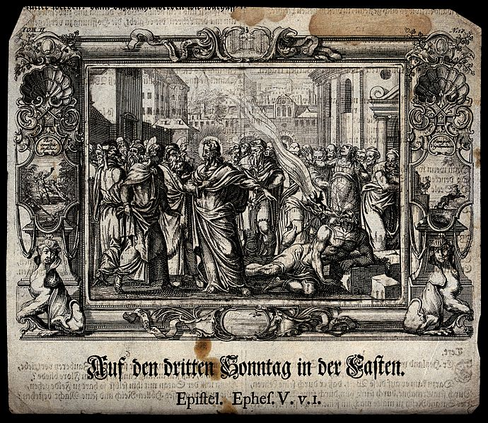 File:Christ heals a demoniac; a demon is expelled into the air. E Wellcome V0034995.jpg