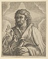 Christ holding a globe, looking to the left and making the sign of blessing with his right hand, clouds behind him, after Reni (?) MET DP837875.jpg