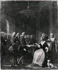 Anno 1758. Een delegatie kooplieden bezoekt de gouvernante