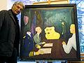 Christoph Kunkel mit seinem Werk DIE MACHER, 1 von 3, 1984, Öl auf Hartfaser, zum NATO-Doppelbeschluss.jpg