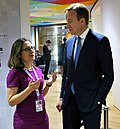 Chrystia Freeland with Børge Brende at the Brussels Conference on Syria - 2017 (33488435260).jpg
